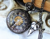 Raven's Skull and gunmetal black steampunk Mechanical Skeleton Dial Pocket Watch  C 10-13