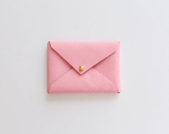 Pink Leather Envelope Pouch / Business Card Holder / Mini Wallet / Card Case / Gifts for Him or Her