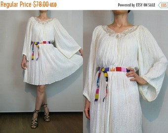 FALL SALE 70s EMBROIDERED Cotton Gauze Dress 70s White Cotton Gauze Dress Striped Cotton Mini Dress Embroidered Cotton Dress White Embroider