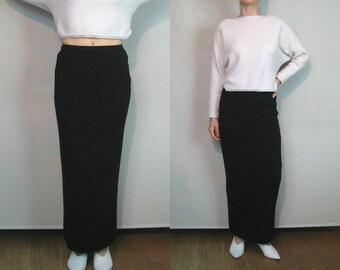 NWOT 80s Merino Wool Knit Maxi Skirt / Unworn Vintage Black Wool Sweater Skirt / Ribbed Knit Pencil Skirt