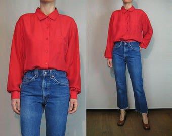 Neon Watermelon Silk Blouse / Pink Red Silk Blouse / 80s Silk Pocket Blouse