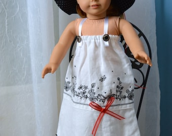 18 Inch Doll Clothes Two Piece Outfit Long Black and White Dress and Floppy Brimmed Hat by SEWSWEETDAISY