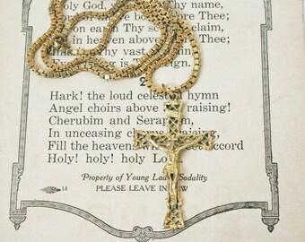 Vintage Cross  / Christian Jewelry  /  Religious Jewelry  /  Gold Tone Ornate Pendant