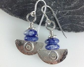 handmade silver and  blue sodalite earrings Ulu