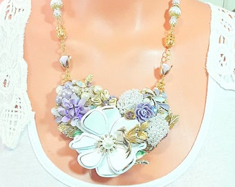 Collage Necklace set, Purple and White, Matching Earrings, vintage style