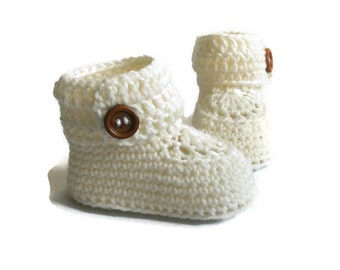 Short Button Cuff Baby Booties in White Merino Wool