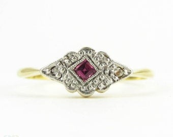 Art Deco Ruby & Diamond Engagement Ring, Square Pinkish-Red Ruby with Diamonds in Platinum and 18ct Gold Setting, Circa 1920s.