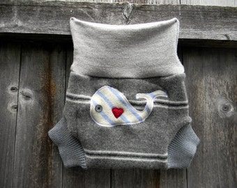 Upcycled Wool Soaker Cover Diaper Cover With Added Doubler Gray With Stripes And Whale Applique MEDIUM 6-12M Kidgogreen