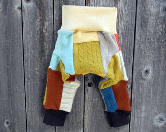 NEWBORN Upcycled Wool Longies Soaker Cover Diaper Cover With Added Doubler Gender Neutral Patchwork Scrappy NB 0-3M Kidsgogreen