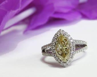 Fancy Yellow Diamond Diamond ring Yellow Diamond Ring Engagement Ring 18K gold Yellow Diamond 1.50 carat, EGL Report VVS1