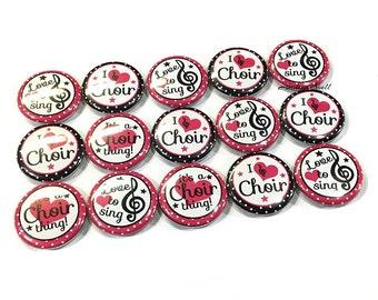 """Choir, 1"""" Button, Choir Party Favor, Choir Pin, Choir Button, Choir Flatback, Choir Birthday, Choir Decor, Choir Theme, Pink and Black Pins"""