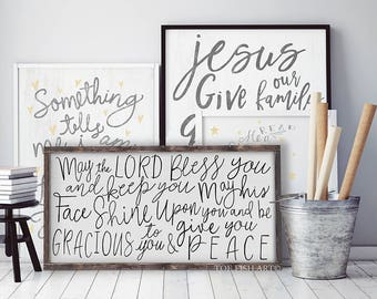 May the Lord Bless You and Keep You Sign | Numbers 6:24-26 | Scripture Verse | Typography Word Art | Wooden Framed Sign | Rustic Farmhouse