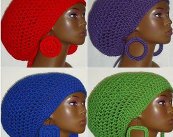 Red Crochet Large Tam Cap Hat with Drawstring and Earrings Dreadlocks Rasta Tam by Razonda Lee Razondalee