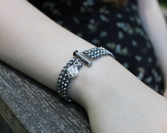 Chinese Crystal Bracelet with Silver Tree of Life Charm