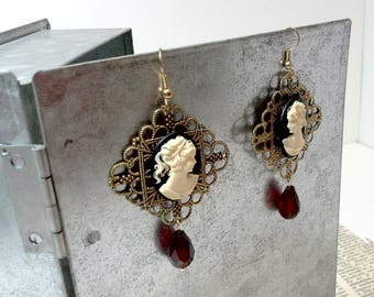 SALE - Victorian Cameo Steampunk Costume Earrings