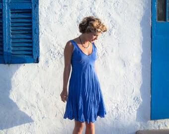 Linen Dress / Short Dress/ Bright  Blue Dress / Summer Dress / Pure Linen /Holiday Dress / Sundress