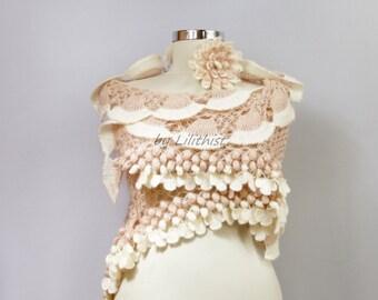 Wedding Bridal Shawl, Crochet Shawl, Bridal Shrug Bolero, Pink Ivory Shawl, Bridal Cover Up, Evening Shawl, Romantic Wedding Shawl, Gift