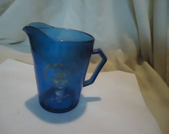 Vintage Shirley Temple Cobalt Blue Glass Pitcher, collectable