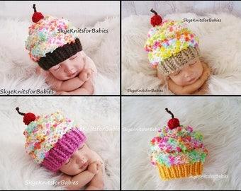 Newborn Knit Cupcake Hat, Baby Cupcake Hat, Newborn Photo Prop, Cupcake Beanie, Baby Boy Cupcake Hat, Baby Girl Cupcake Hat