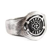 SALE Rustic Silver Ring Man Carpe Diem Oxidized Silver Signet Rings