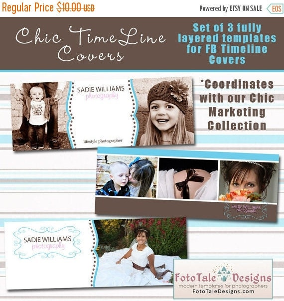 SALE INSTANT DOWLOAD - Chic Timeline Cover Collection - 3 Custom templates for Fb Timeline Covers