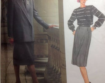 Vintage Vogue Christian Dior Paris Original Designer Sewing Pattern Misses Jacket Skirt Blouse 1985 Uncut Size 12