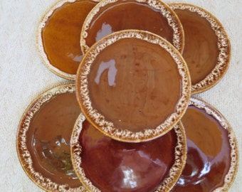 7 Vintage Brown Drip Bread Plates MidCentury Modern Pottery Brown Drip Dessert Plates Small 6 inch Plates
