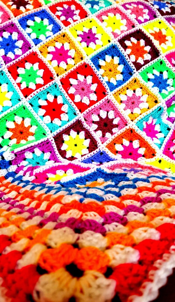 The Sunroom Uk Sale Daisy Granny Squares Vivid Blanket Afghan Crochet