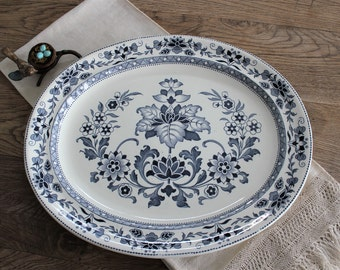 "Antique 15"" English Wedgwood Mandarin Blue Transferware Ironstone Platter"