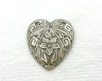 Art Nouveau Heart Brooch Love and Romance Antique Look