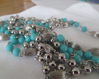 Sarah Coventry Silver and Turquoise Long Double Vintage Necklace