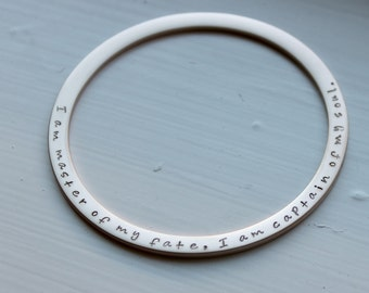 Inviticus Quote, Stainless Steel Silver Rose or Gold Bangle, I Am Master Of My Fate, I Am Captain Of My Soul, Inspirational Motivational