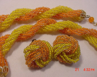 Vintage Yellow And Orange Glass Bead Adjustable Necklace & Clip On Earring Set