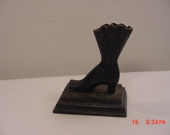 Vintage Metal Ladies Antique Button Up Shoe Sculpture Or Door Stop 17 - 345