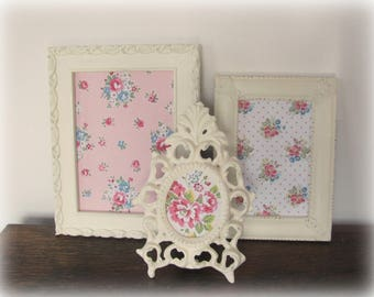 Ornate Picture Frames, Shabby  Chic Antique White Picture Frame Set, Vintage Painted Wedding or Nursery Frames