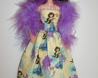 "Handmade 11.5"" fashion doll clothes - yellow princess gown with boa"