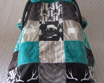 Woodland Minky Car Seat Cover - Deer Car Seat Canopy Blanket- Car Seat Cover- Gray Teal Minky Blanket- Soft Cover- Ships out in 1-3 Days