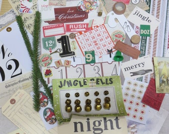 Vintage Christmas Ephemera Lot-Scrap-ATC-Digital-Scrap booking-Pages-75+pieces-Retro-Mid Century