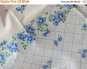 Going Out Of Business Vintage Feedsack Border Print Fabric-Sweet Blue Floral-BTY-1 Yard-more available