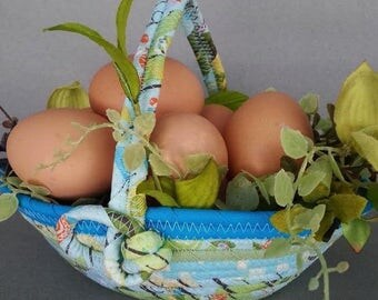 Spring Is Here, Easter basket, fabric basket with handle