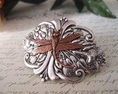 Victorian dragonfly barrette-aged brass-Victorian-bridal-medieval-shabby chic-steampunk-mythology V006