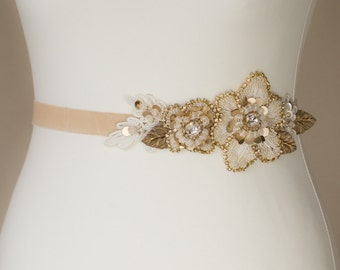 Gold Bridal sash Wedding belt Champagne Wedding dress belt wedding belts sashes Bridal dress sash Floral bridal sash