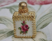 Beautiful Italian -  Miniature perfume Bottle with a tapestry Rose front - Vintage - Brooch Pin - c1950s