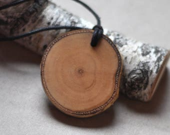 birch wood necklace or/ key ring • wooden necklace • birch wooden keychain