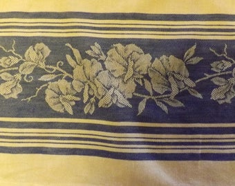Vintage Blue And White Damask Luncheon Tablecloth With Hibiscus Print  Design