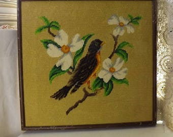 Vintage Framed Needlepoint Bird And Magnolia Tree Picture