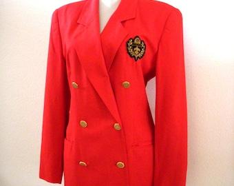Vintage 80s RED Blazer by Evan Picone - Double Breasted Red Blazer - 1980s Nautical Dressy Jacket - Blazer Jacket - Size Medium 6