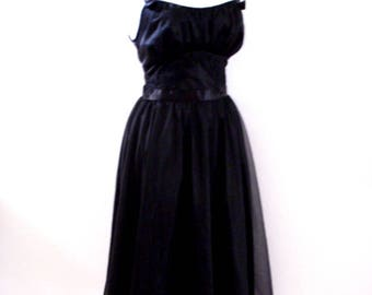 Vintage 60s Black Chiffon Negligee by Vanity Fair - 1960s Black Waltz Length Chiffon Nightgown - Vintage Lingerie - Size Small to X Small 32
