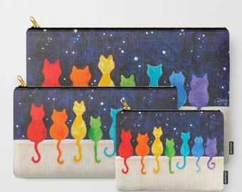 Rainbow Cats on A Wall, Zippered Pouch, Makeup Bag, Pencil Case, Toiletry Bag