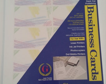 DIY Business Cards, Print at Home Business Card, Perforated Sheets, Makes 250 Business Cards